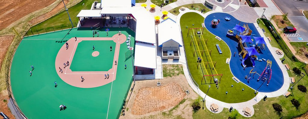 Aerial of artificial turf playground installation
