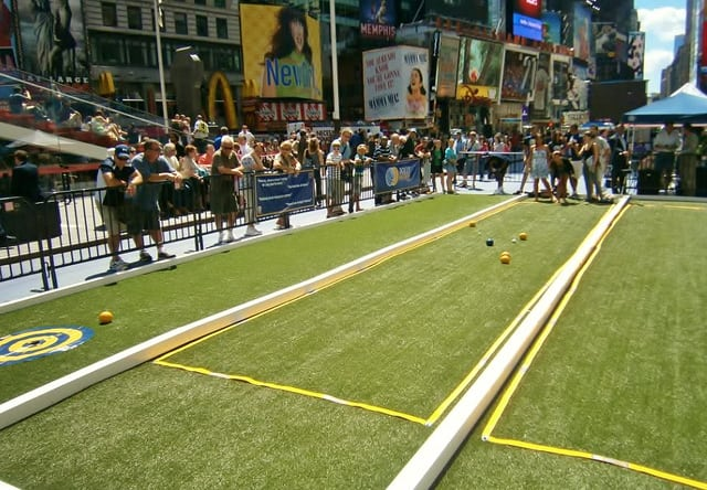 Artificial turf bocce field